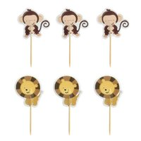 Wholesale Cupcake Shaped Favors - Wholesale- 24Pcs New Cupcake Toppers Picks Animal Shape Birthday Cake Decoration Toppers Pick Party Favors Accessories GB0181