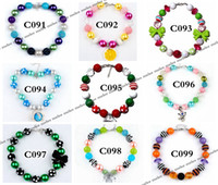 Wholesale Charms For Girls - Fashion INS Xmas Girls Chunky Necklaces Bubblegum Necklace Kids Bead Necklace DIY Gumball Beads Children Jewelry Accessories for Party Gifts