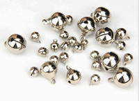 Wholesale Christmas Craft Charms - 6mm-20mm 1PC Silver Jingle Bells Pendants Hanging Christmas Tree Ornaments Christmas Decorations DIY Crafts Accessories