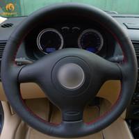 vw passat руль оптовых-Чехол для руля Mewant из черной искусственной кожи для Volkswagen VW Golf 4 Passat B5 1996-2003 Seat Leon 1999-2004 Polo 1999-2002