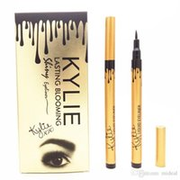 Wholesale Eyeliner Tubes - Kylie Jenner Eyeliner Lasting Blooming Waterproof Gold Birthay Edition Tube Makeup Black Liquid Eyeliner Pens