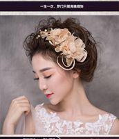 Wholesale Clamps Bride - Woman headdress hair Lomen bride Korean sweet flower ribbon barrette wedding headdress accessories 6210524 side clamp