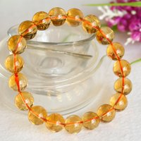 Wholesale Natural Citrine 8mm - High Quality Natural Genuine Brazil Yellow Citrine Stretch Bracelet Round Beads 8mm,10mm,12mm Jewelry Beads Marriage Gemstone 04394
