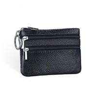 Wholesale Small Leather Pocket Change Holder - Wholesale- Genuine Leather Coin Purse Women Small Wallet Change Purses Money Bags Children's Pocket Wallets Key Holder Mini Zipper Pouch