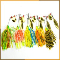Wholesale Beard Fishing Lure - 16.3g Rotating Fish-type Sequined Beard Lures Bait Noisy Spiner Bait 3D Eyes Buzzbait 5pcs Set Composite Bait