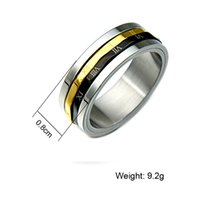 Wholesale 3in1 Ring - New Arrivel Gold Black Rotatable Ring 3In1 Titanium Stainless Steel Rings for Men Women Jewelry Drop Shipping