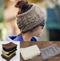 Wholesale Ladies Winter Headbands - women wide crochet headband Hot winter Messy Bun empty wool hats womens wool caps wide headbands ladies hats beanies ear warmer 30pcs