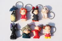 Wholesale Ponyo Movie - Spirited away Hayao Miyazaki Anime Totoro keychain Ponyo figure KiKis Delivery Service PVC Model Toys 16pcs 2Set Free Shipping