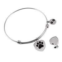 Wholesale Chain Bangle Holders - IJB0382 Paw Print Heart Charm Stainless Steel Expandable Wire Bracelet Pet Ashes Urn Holder Women's Fashion Bangle