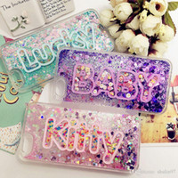 Wholesale Galaxy Case Korea - For Samsung galaxy s5 s6 s7 s8 edge plus note 5 Korea Exclusive Customize Name Personal Glitter Liquid Case