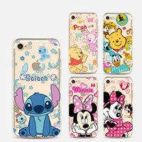 Wholesale Minnie Mouse Cases - cartoon Stitch Mickey minnie mouse bear phone cases For iphone 6S 7 plus 5S case soft TPU painting ultra thin silicone back cover shell