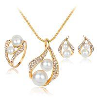 doppel-perlen-schmuck-set großhandel-Neue Kristall Doppel Perle Schmuck Sets für Hochzeit Bräute Brautmode in Gold Halsketten Ohrringe Ringe Modeschmuck