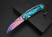faca damasco azul venda por atacado-Cor titanium blue jays faca Damasco coletar facas shell cor do punho ao ar livre de acampamento de sobrevivência facas de bolso EDC ferramentas presentes