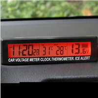 Wholesale car lcd voltage monitor online - Auto Car LCD Digital Clock Thermometer Temperature Voltage Meter Battery Monitor Black