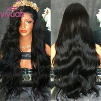 Wholesale Blue Baby Wig - High Quality Natural Hairline Synthetic Lace Front Wig Black Wigs with Baby Hair Heat Resistant Body Wave Wigs For Black Women