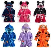 Wholesale Children Hooded Bath Towel - Children Bathrobes Nightgowns Baby Girls Boys Flannel Pajamas Cartoon Mickey Mermaid Hooded Jumpsuits Rompers Cotton Kids Bath Towel 05