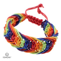 Wholesale Gold Beads For Knitting - Wax bracelets infinity Rainbow Gay six Wax knitting Adjustable Bracelet Men Charms Heart Love Bracelets for Women Pulseras Lesbian LGBT