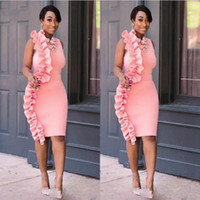 Wholesale yellow cocktail dresses for cheap - Pink Black Girls Short Prom Dresses Sheath Ruffles Knee Length Cheap Party Dress South African Cocktail Formal Dress Evening Wear For Women