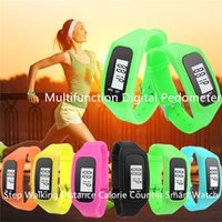Wholesale Digital Counter Pedometer - Digital LED Pedometer Run Step Walking Distance Calorie Counter Watch Fashion Design Bracelet Colorful Silicone Pedometer