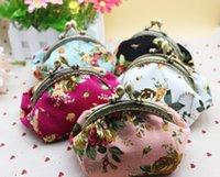 Wholesale Vintage Barrel Keys - New Vintage Multicolor Women Mini Canvas Clutch Bag Flower Print Metal Button Coin Purses Girl Key Card Small Wallets sgb-001