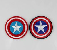 Wholesale Captain America Badge - 5.6cm Captain America badge Embroidered Logo Brand patches Iron On sew on for Clothing Jacket Felt Garment Appliques DIY Accessory 10pcs lot