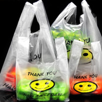 Wholesale Events Bags - 50Pcs lot 0.03mm Plastic Bags THANK YOU Smiling Face Hand Event Gifts Shopping Clear Carrier Bags Lovely Style Party Pouch