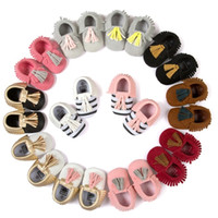Wholesale First Athletic Shoes - 2017 Boys Girls Baby First Walkers Shoes PU Leather Soft Sole Moccasins Tassels Striped Toddler Antiskid Athletic Shoes Wholesale