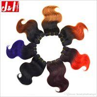 sarışın brazilian dalga saç paketleri toptan satış-8A Ombre İnsan Saç Örgüleri Kısa Brezilyalı Vücut Dalga Saç Demetleri Toptan 1B 27 33 Ombre Renk Kırmızı Bordo Mavi Mor Sarışın Kahverengi