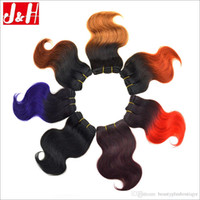 Discount natural black 1b hair color - 8A Ombre Human Hair Weaves Short Brazilian Body Wave Hair Bundles Wholesale 1B 27 33 Ombre Color Red Burgundy Blue Purple Blonde Brown