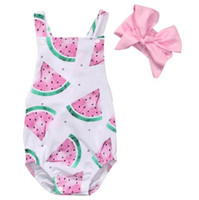 Wholesale Jumpsuit New Design - 2017 ins new designs newborn baby summer rompers infant toddlers watermelon printed jumpsuit with pink headband 2pcs outfits