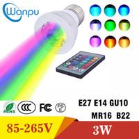 e14 24v lamba toptan satış-LED Ampul 3 W E27 E26 E14 GU10 GU5.3 B22 RGB IR Uzaktan Kumanda ile 16 Renk LED Spot AC85-265V Spot LED Lamba