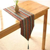 Wholesale linen style tablecloths for sale - Group buy 30 cm European Folk Style Linen Cotton Table Runner Bed Flag Home Tea Table Cloth Tablecloth for Wedding Supplies New