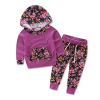 Wholesale Kids Leopard Trousers - 2017 New Baby Cloth Set Hoodie + Trousers Leopard Print Floral 95Cotton 4 Colors Spring Autumn for Baby Kids Clothing Set 1-3Yr