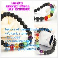 Wholesale Titanium Tourmaline Energy Bracelets - colorful agate Volcanic stone Jewelry colorful agate Volcanic stone turquoise Tourmaline beads Beaded energy stone diy bracelet