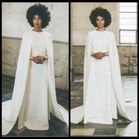 wrap jacket robes de soirée achat en gros de-Designer Aso Ebi Robes De Soirée Avec Wrap / Veste Jewel Satin Robes De Bal Long Retour Zipper Femmes Africaines Tenue de soirée Robe Robes F
