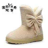 Wholesale Cute Warm Boots Women - Wholesale-New 2016 Women Winter Bow Snow Boots Fashion Slip-resistant Short Women's Boot Cotton Cute Shoes Fur Inside Warm Ankle Boot