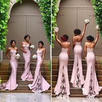 vestido de boda de tafetán rosa sirena al por mayor-2017 dulce rosa sirena vestidos de dama de honor correas de espagueti espalda abierta vestido madrinha apliques de encaje barrer vestido de novia