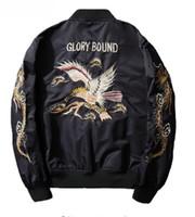 Wholesale men coat japan - AmberHeard Fashion Spring Autumn Men Jacket Streetwear Dragon Eagle Embroidery Japan Black Bomber Jacket MA1 Flight Aviator Coat