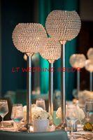 Wholesale Crystal Balled Candle Holder - Big crystal ball wedding centerpiece table centerpiece flower stand candle holder wedding pillar 26cm diameter 90cmTall
