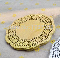 Wholesale patterned scrapbooking paper resale online - PD38 Inch Vintage Gold Hollowed Lace Pattern Paper doilies Crafts for DIY Scrapbooking Card Making Wedding Decoration