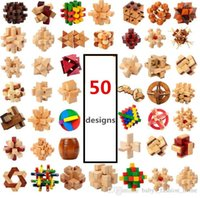Wholesale Clear 3d Puzzles - 50pcs kong Ming Luban Lock Chinese Traditional Toy Unique 3D Wooden Puzzles Classical Intellectual Wooden Cube Educational Toy B360
