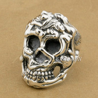 LINSION Nuit Érotique 925 Sterling Silver Sexy Naked Grils Huge Heavy Skull Ring 9T025 US Taille 7 à 15