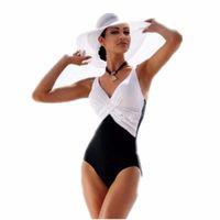 siyah mayo tankini toptan satış-Tek Parça Mayo Brezilyalı Bikini Set Seksi Tankini Set Beachwear Artı Boyutu Patchwork Mayo Kadınlar Siyah Mayo XXXL XXXXL