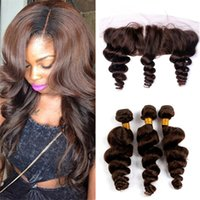 Wholesale chestnut brown hair weave for sale - Color Medium Brown Virgin Hair Weaves With Lace Frontal Ear To Ear Closure With Bundles Chestnut Brown Loose Wave Hair With Frontal