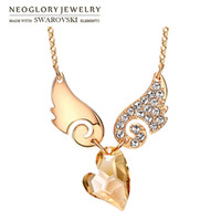 Wholesale Swarovski Necklace Designs - MADE WITH SWAROVSKI ELEMENTS Crystal & Rhinestone Charm Necklace Romantic Wings & Heart Design Champagne Gold Plated For Lady Gift Neoglory