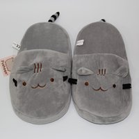 "Wholesale Adult Cat Slippers - New 2016 Cute Pusheen Cat Plush Slippers Indoor Kawaii Cartoon Stuffed Shoes Adult Winter Shoes 11""28cm"