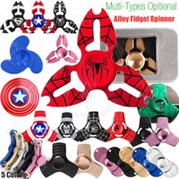 Wholesale Superheroes Plush Toys - New Superhero Fidget Spinner Toys Triangle Hand Spinners Super hero Alloy CNC EDC Finger Tip decompression novelty Rollover plush Toys DHL