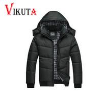 Wholesale puffer jacket men - Wholesale- Winter Coat Men black puffer jacket warm male overcoat parka outwear cotton padded hooded down coat men's cotton jackets VC2630