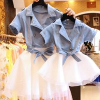 Wholesale Korean Mother Daughter Dress - 2017 Summer mother and daughter clothes Korean Style cowboy splicing veil double-breasted princess dress Jean and greadine short sleeve