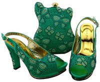 Wholesale Green Shoes Matching Bag - Wholesale Water Green Most Popular African Shoes And Matching Bags Set With Colorful Stone Nigerian Shoes And Bags Set BCH-35 Water Green